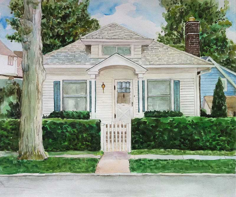 custom watercolor painting of a small white house