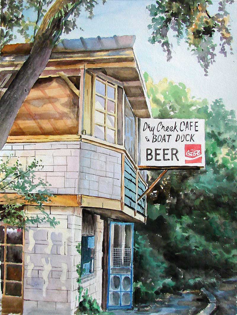 custom watercolor painting of a small cafe on the boat dock