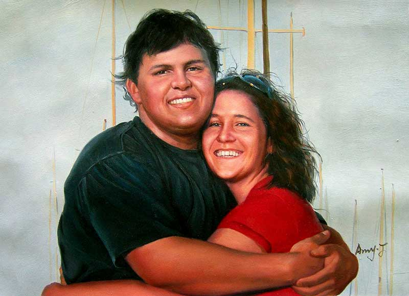 oil painting of couple smiling and hugging local artist