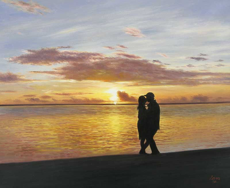 Custom oil handmade painting of couple kissing sunset