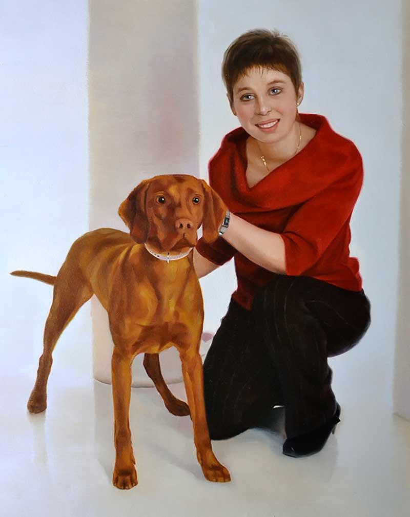 hond met eigenaar olieverfschilderij