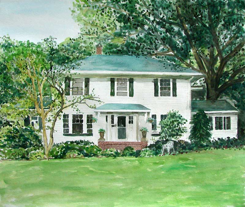 custom watercolor painting of a house covered in greenery