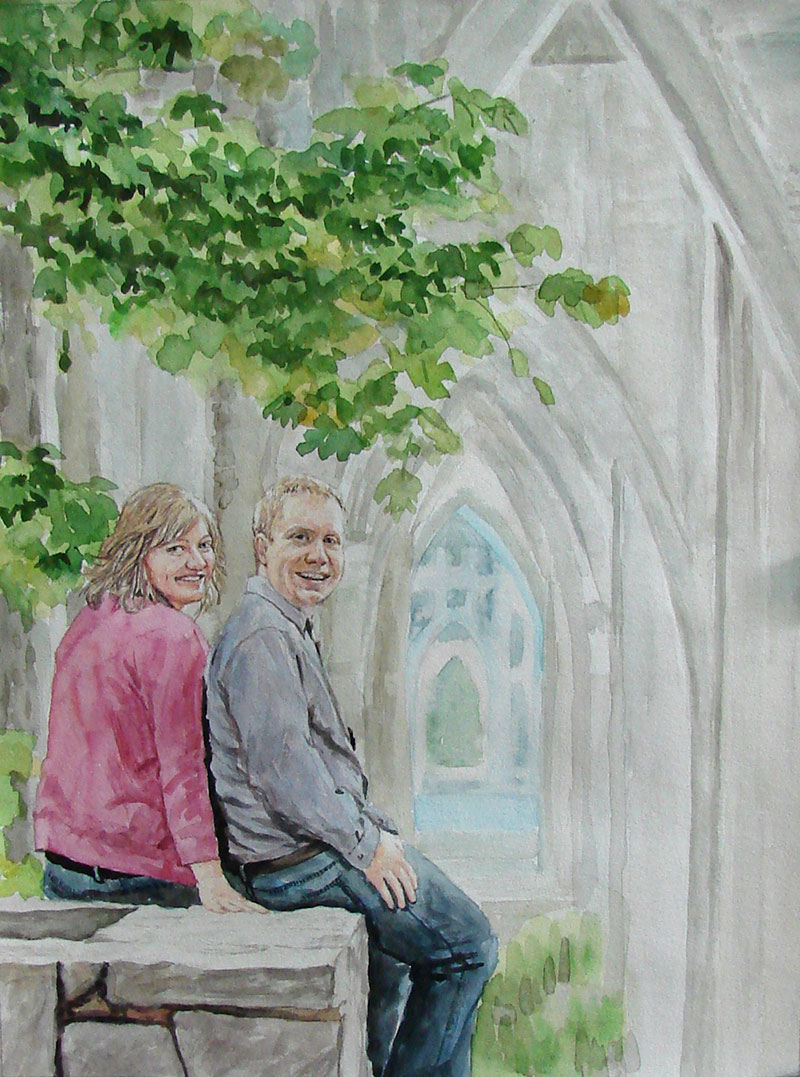 custom watercolor painting of couple outside