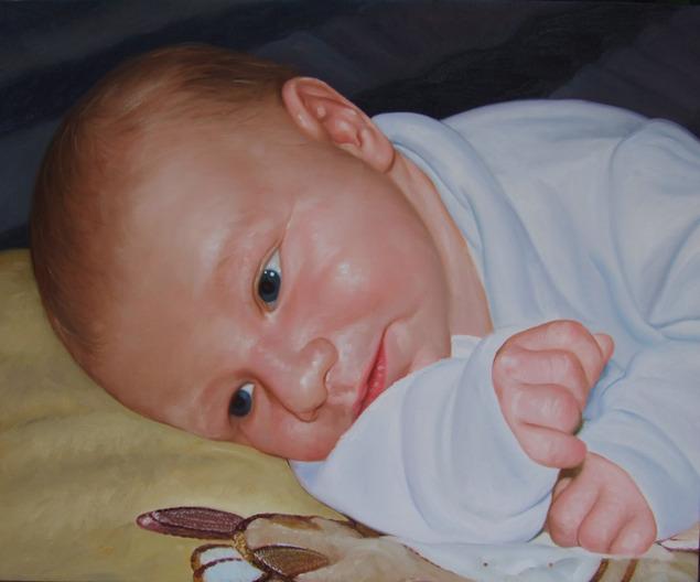 peinture portrait bébé