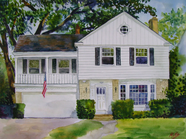 custom watercolor painting of white house with american flag
