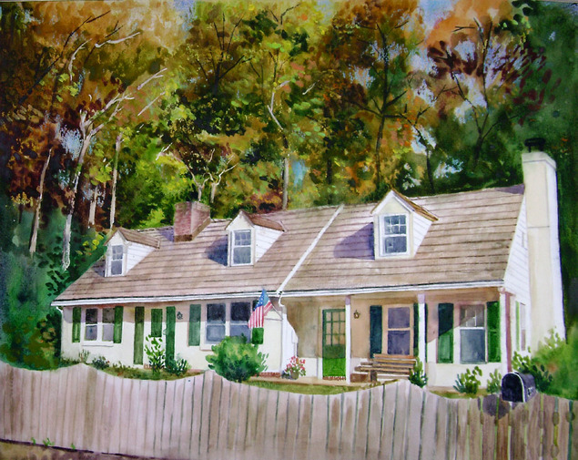 custom watercolor painting of a fenced house with mailbox