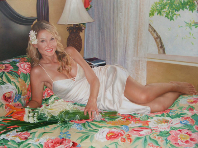 a custom oil painting of a woman on the bed