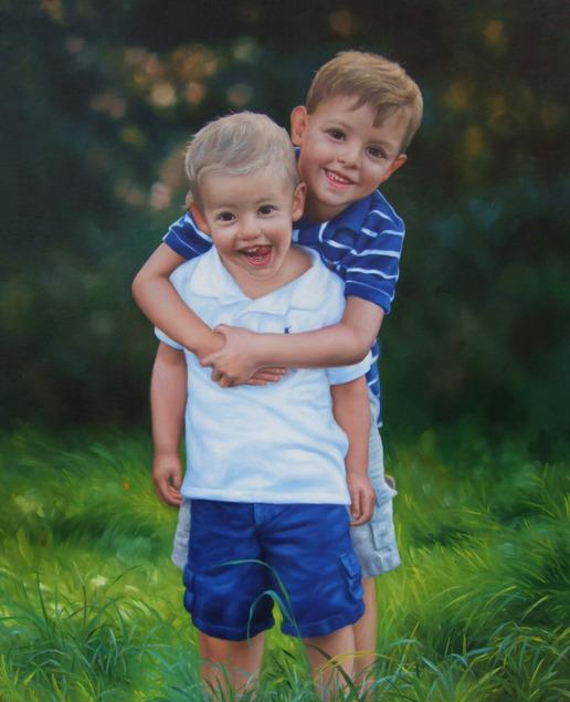 fratellini ritratto olio su tela da fotografia