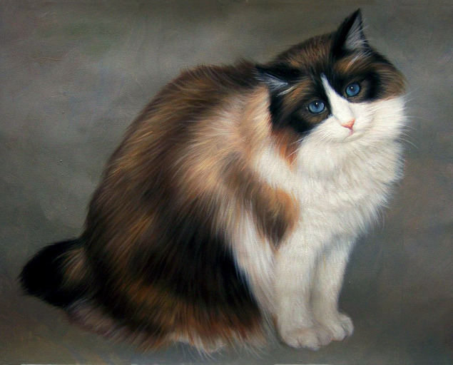 painting of long hair cat posing for the camera