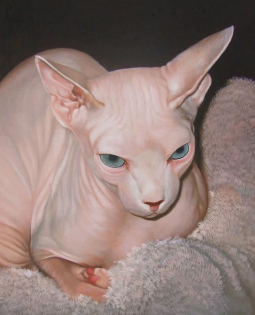 custom oil painting of a sphynx cat