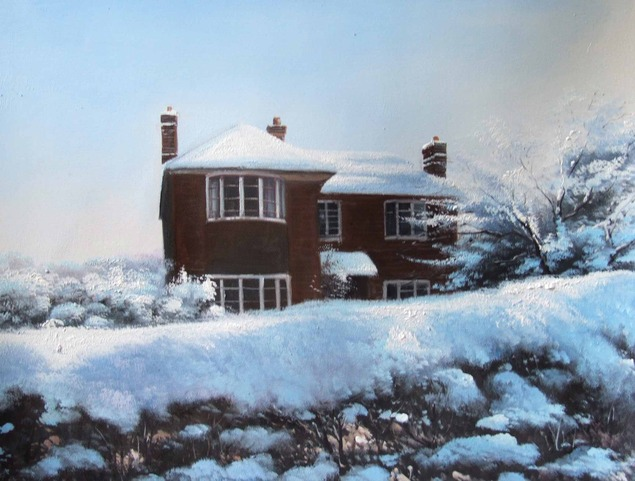 Custom oil painting of a dark wood house during winter
