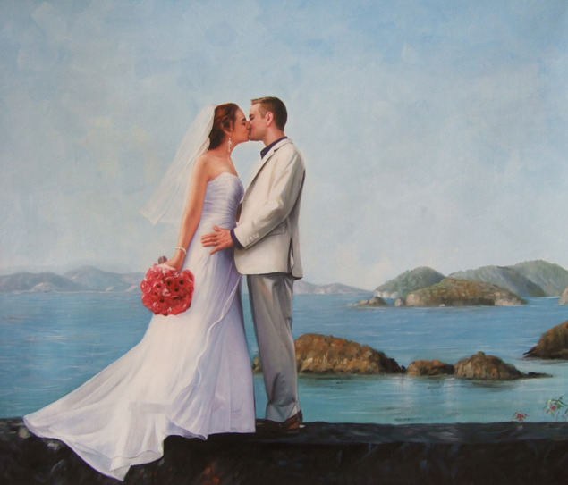 a custom oil painting of wedding couple kissing by the beach