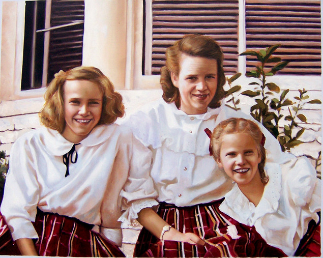 picture to paint vintage style oil portrait of sisters