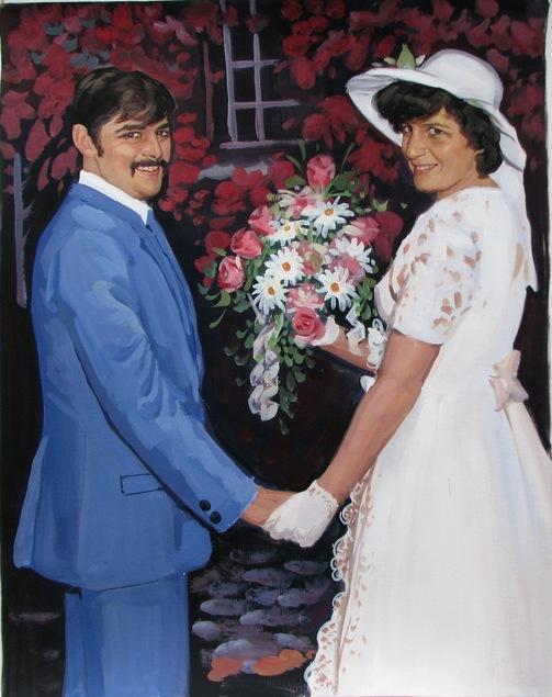 photo de mariage à la peinture à l'huile