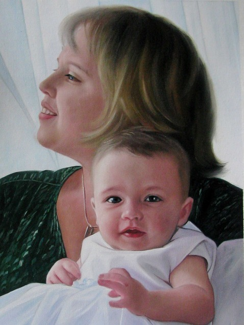 an oil painting of a mother and a child