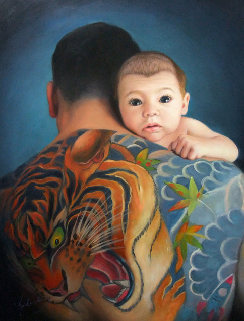 an oil painting of father with tiger tattoo and his son