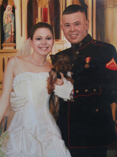 an oil painting of a wedding couple holding a dog