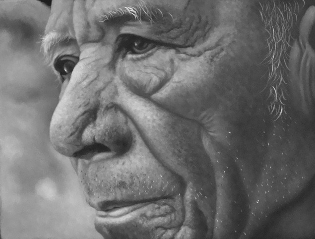 oil portaits - black and white old man
