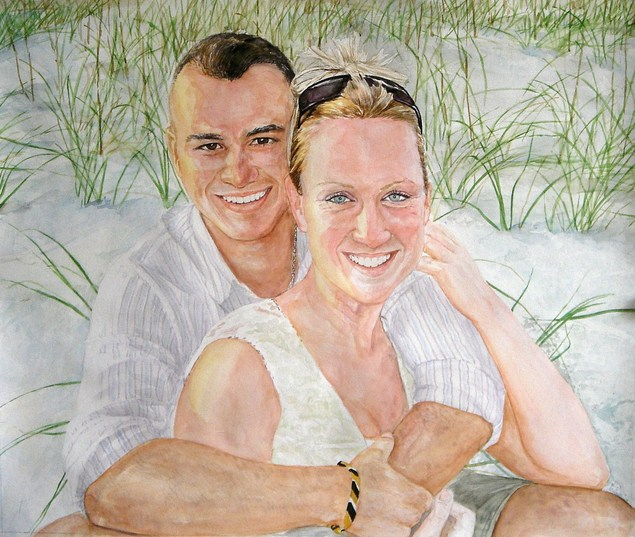 watercolor portrait of a loving couple