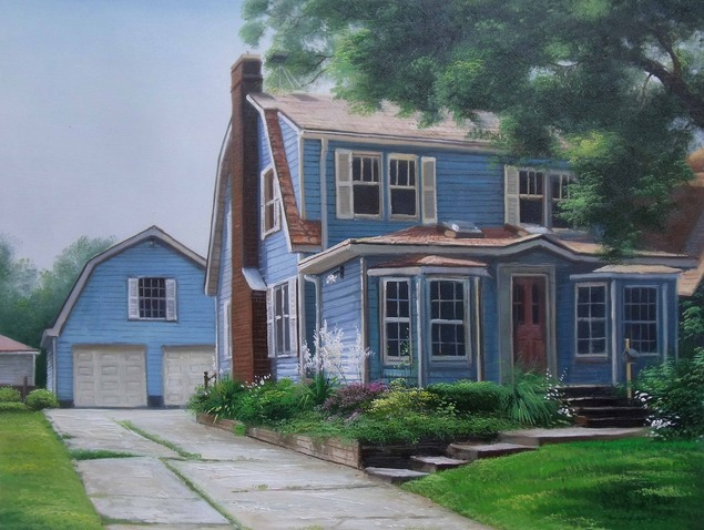 Custom oil painting of blue wooden house