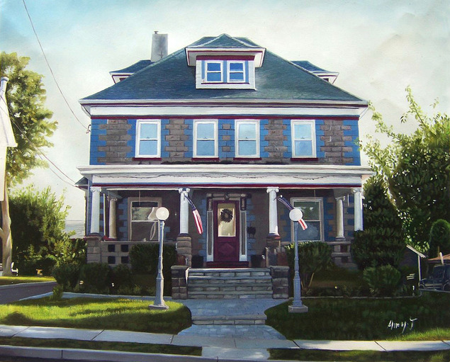 Custom oil painting blue grey home