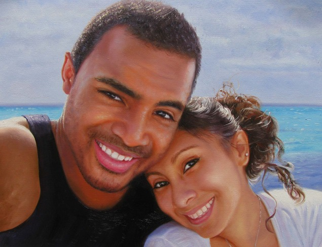turn photo into oil painting black couple by beach