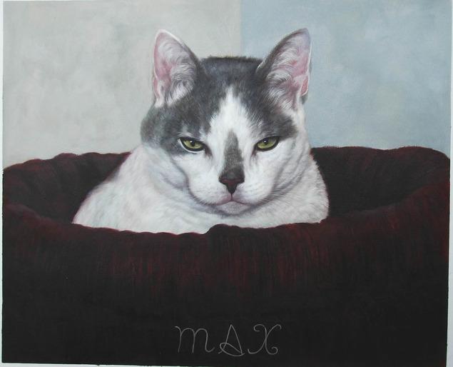 custom oil painting of cat sleeping in bed