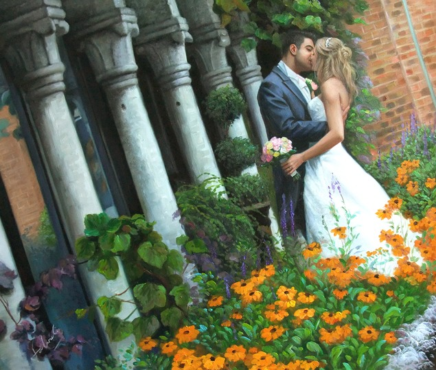 an oil painting of a bride and groom kissing in the garden