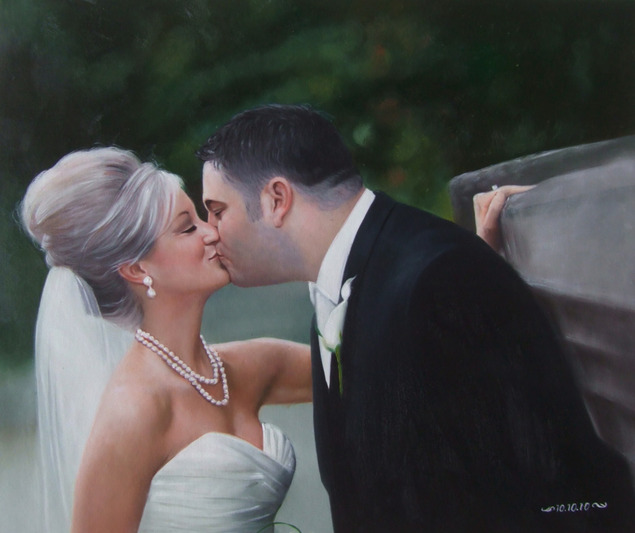 a custom oil painting of a wedding couple kissing