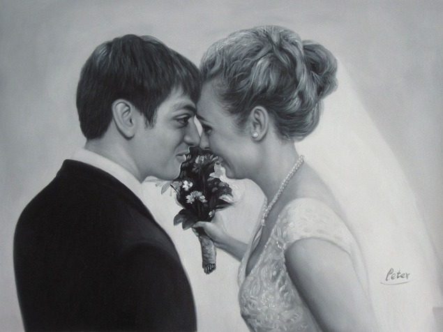a custom black and white wedding photo of happy wedding coup