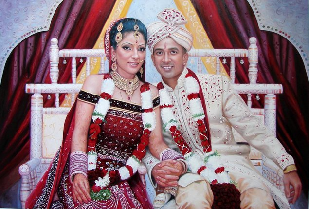 stylish wedding photo as oil painting