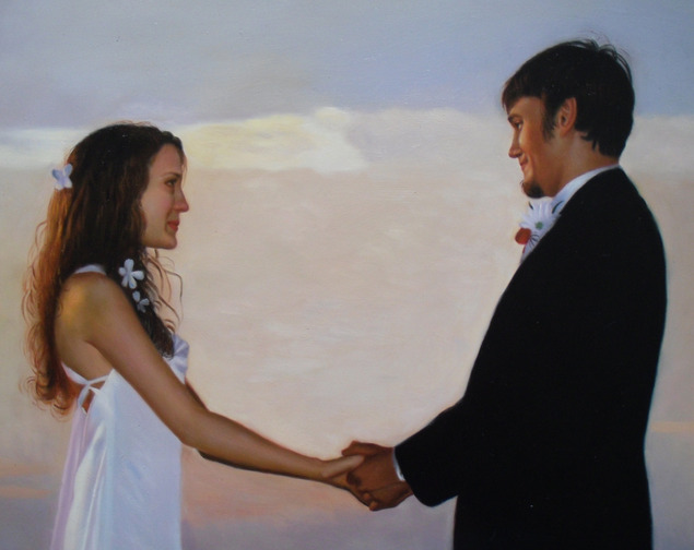 a custom oil painting of wedding couple holding hands