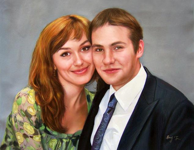 Familienportrait gemalt in Öl