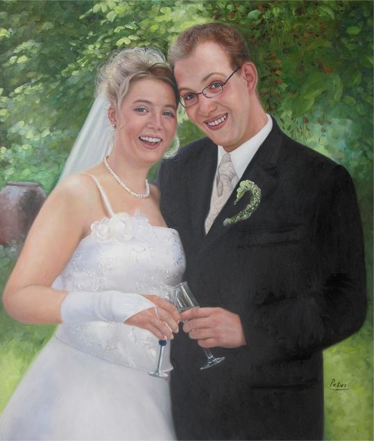 Gemälde vom Hochzeitsfoto