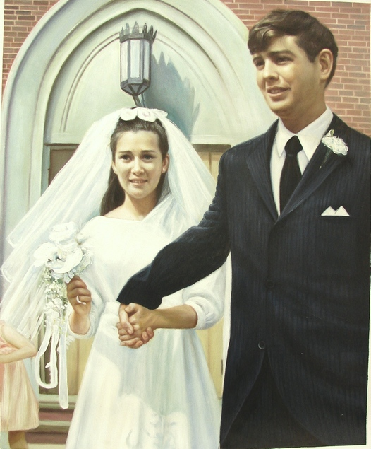 vintage wedding painting of couple holding hands