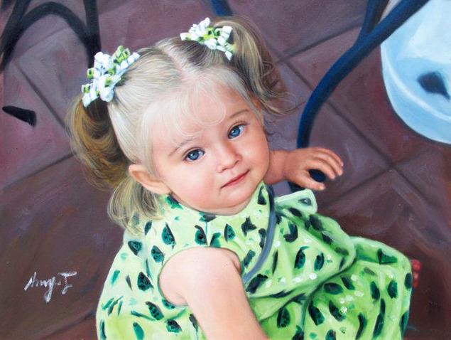 a custom oil portrait of a little girl with blue eyes
