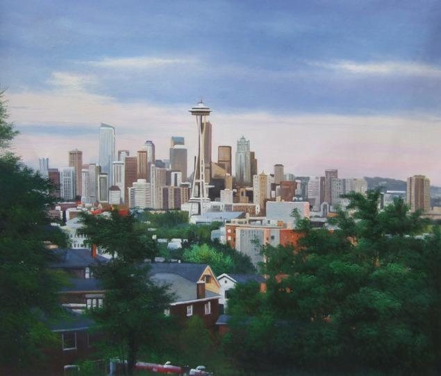 futuristic oil painting