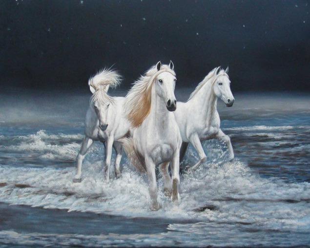 schilderen van twee paarden