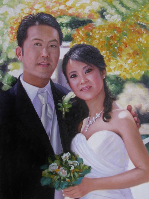 an oil painting of asian couple with white bouqe of flowers