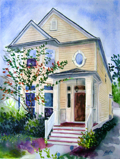 custom watercolor painting of small yellow house