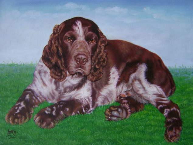peinture à l'huile chien