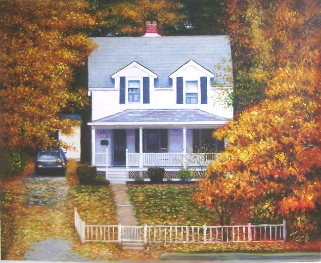 Custom oil painting of a white house in trees fall