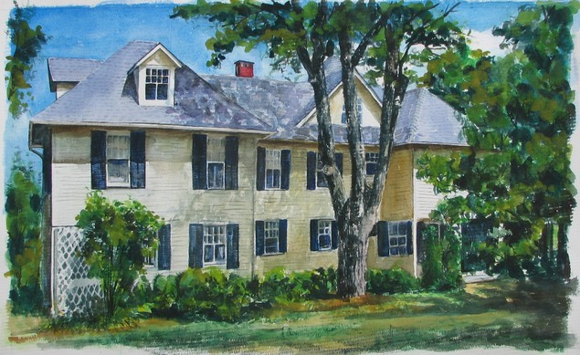 custom watercolor painting of a big yellow house