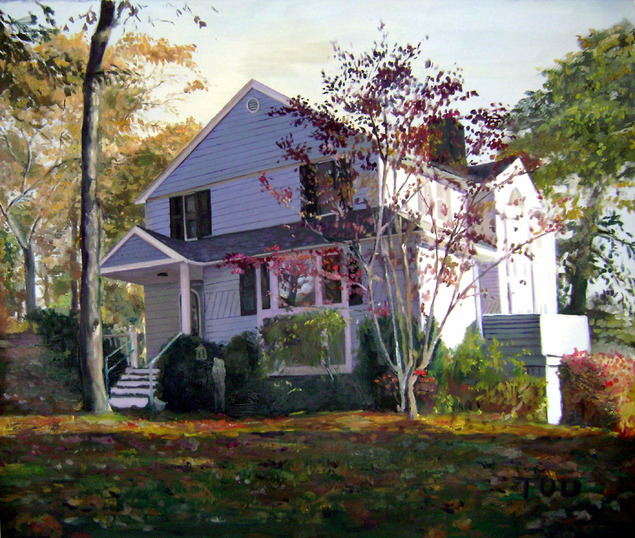 Handmade oil painting  of a white house in the woods