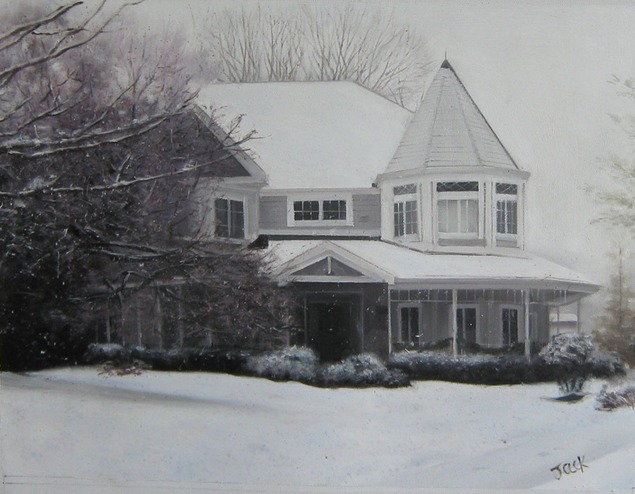 oil portrait of house - black and white