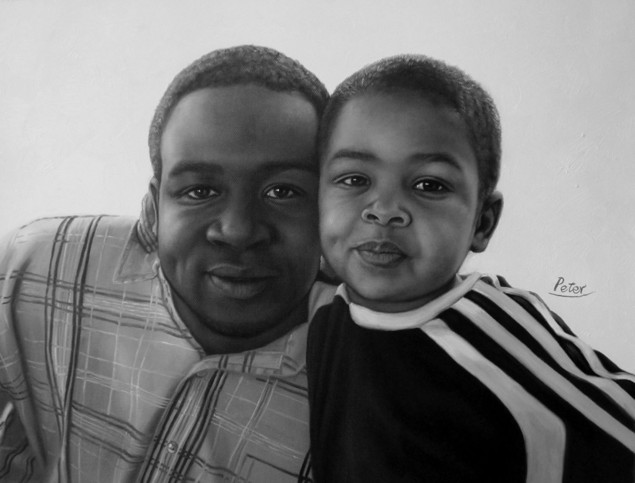 black and white oil painting of black father and a kid