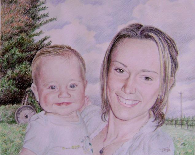 Tableau de maman et bébé