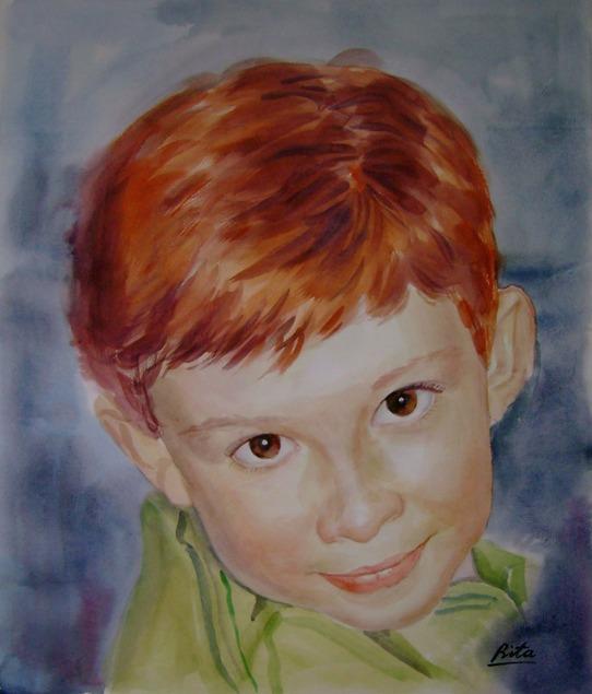 custom watercolor painting of redhead boy wearing green