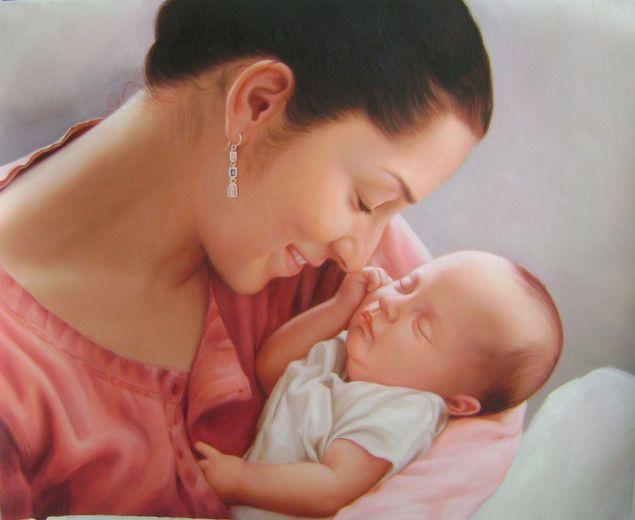Mutter mit Baby gemalt in Öl