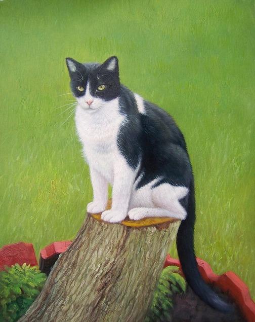 cat oil portrait of cat sitting on tree stump